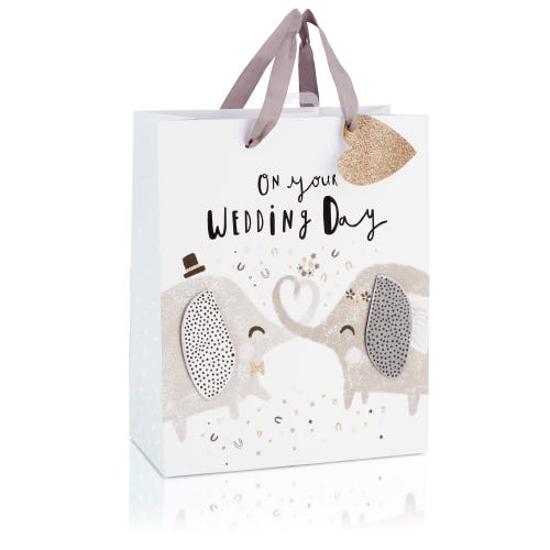 Cute Elephants With Glitter Effect Large Wedding Gift Bag