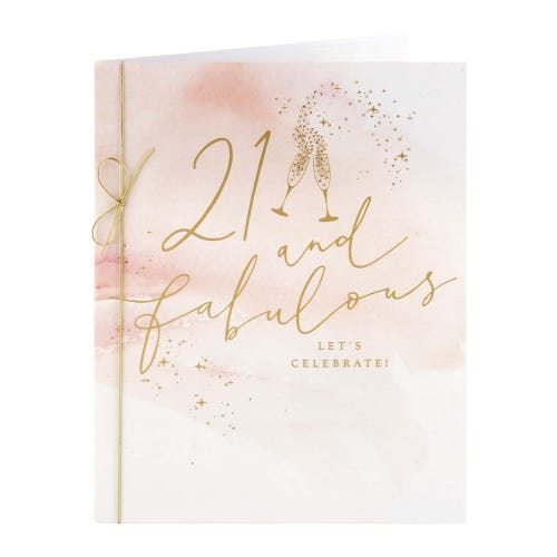Pink Washed Water Colour 21st Birthday Card