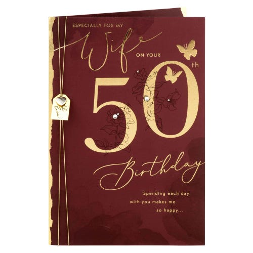Gold Butterflies Wife 50th Birthday Card
