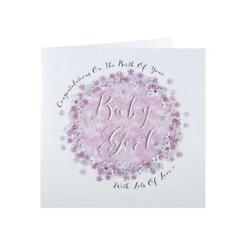 Pink Flowers Baby Girl Card