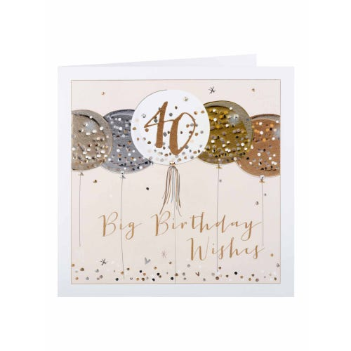 Rose Gold Balloons 40th Birthday Card