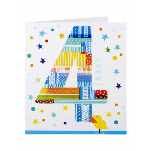 Duckling And Stars 4th Birthday Card