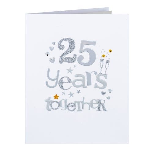 Glitter Lettering 25 Years Anniversary Card