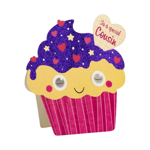 Moving Eyes Special Cousin Cupcake Birthday Card