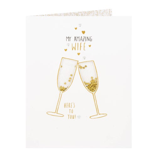 Heart Filled Champagne Glasses Amazing Wife Birthday Card