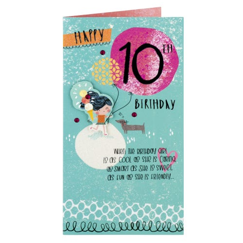 Girl With Ice Cream 10th Birthday Card