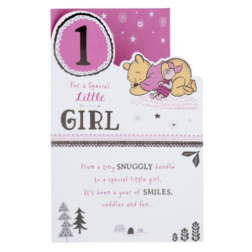 Winnie The Pooh Little Girl 1st Birthday Card