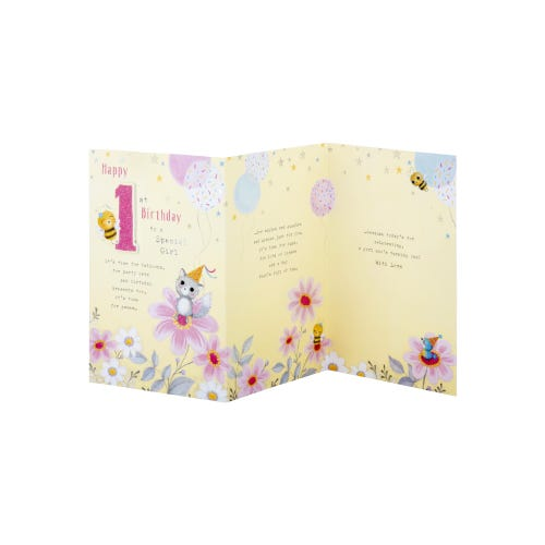 Bee And Cat Special Girl 1st Birthday Card
