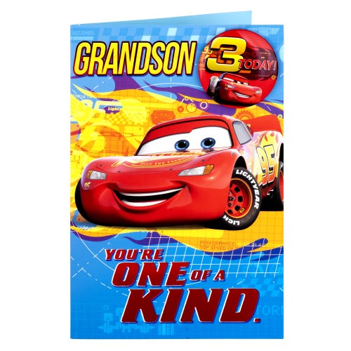 Grandson 3rd Birthday Disney Lightening McQueen Card