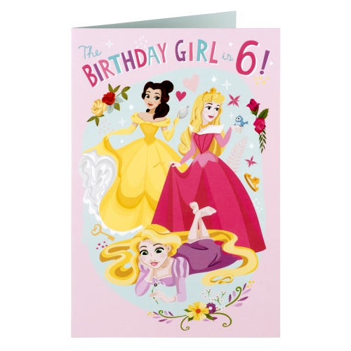 Disney Princesses 6th Birthday Girl Card