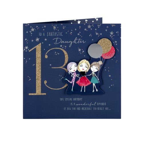 Girls With Balloons Daughter 13th Birthday Card