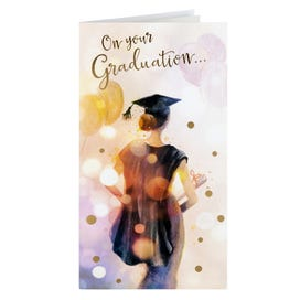 Graduation Girl With Balloons Card