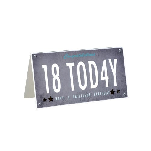 18 Today Number Plate Style Birthday Card