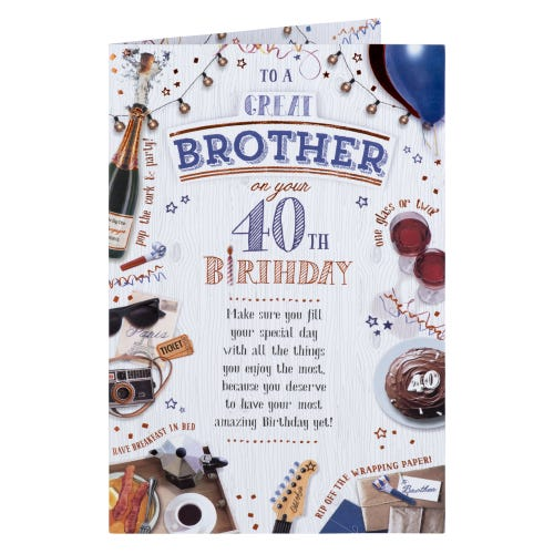 Celebration Icons Great Brother 40th Birthday Card