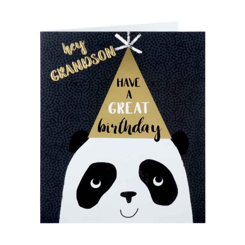 Panda With Party Hat Grandson Birthday Card
