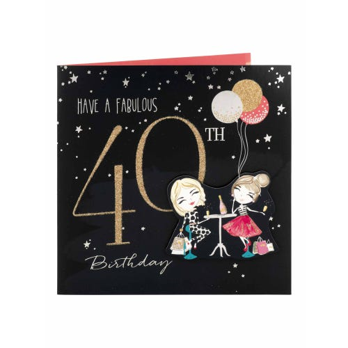 Sassy Girls Drinking Fabulous 40th Birthday Card