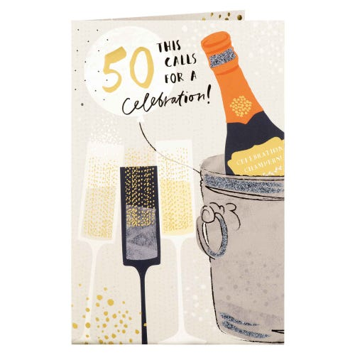Champagne Bottle In Cooler 50th Birthday Card
