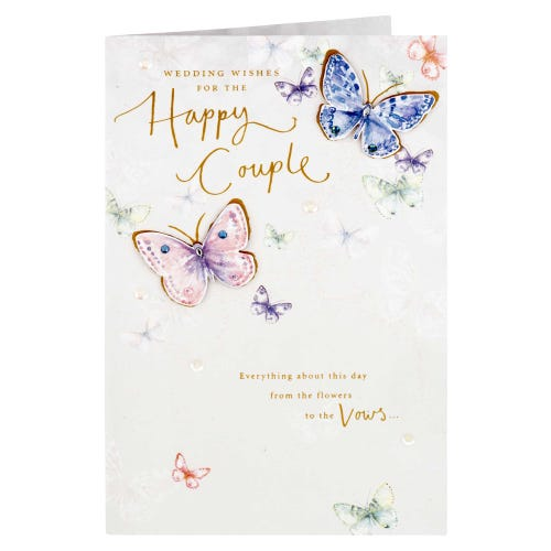 Butterlies Flying Happy Couple Wedding Day Card