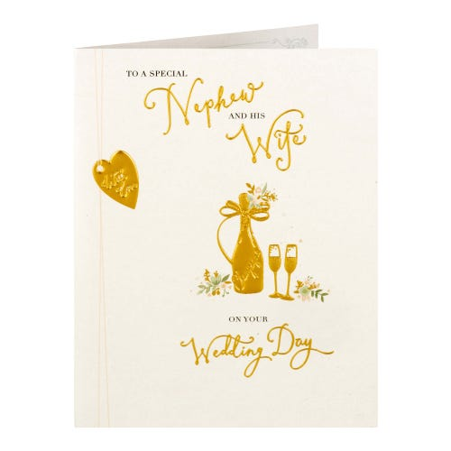Champagne Bottle And Flutes Nephew And Wife Wedding Card