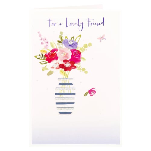 Flowers In Vase Lovely Friend Birthday Card