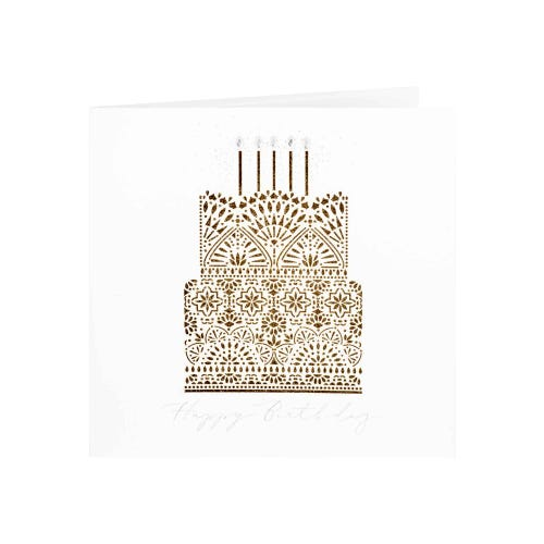 Clintons Collection Gold Glitter Effect Cake Laser Cut Birthday Card