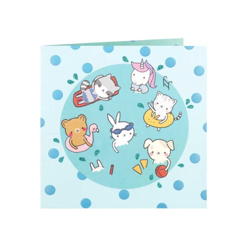 Wild Animals Pool Party Blank Birthday Card