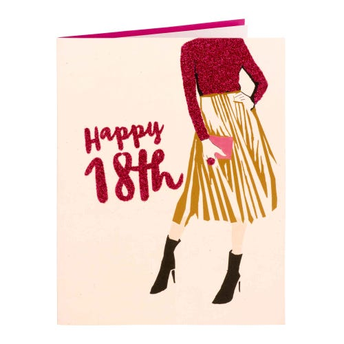 Pink Glitter Effect Fashion 18th Birthday Card