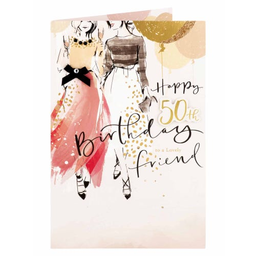 Girls With Champagne Friend 50th Birthday Card
