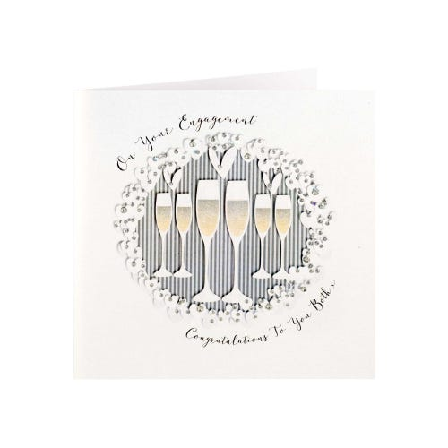 Champagne Glasses With Embellishments Luxury Engagement Card