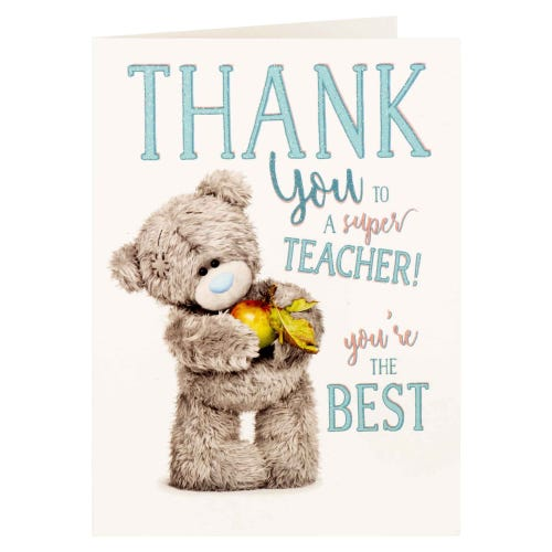 Me to You Bear With Apple Thank You Teacher Card