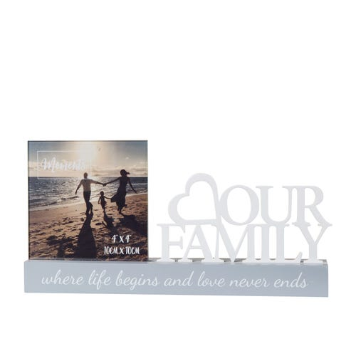 "Our Family 4"" x 4"" Caption Photo Frame"
