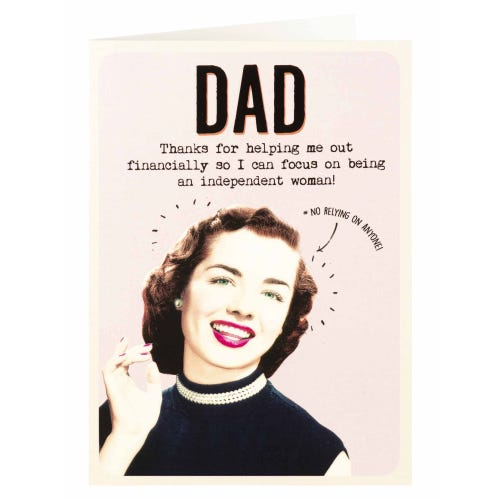Dad Thanks For Helping Me Out Financially Funny Father's Day Card