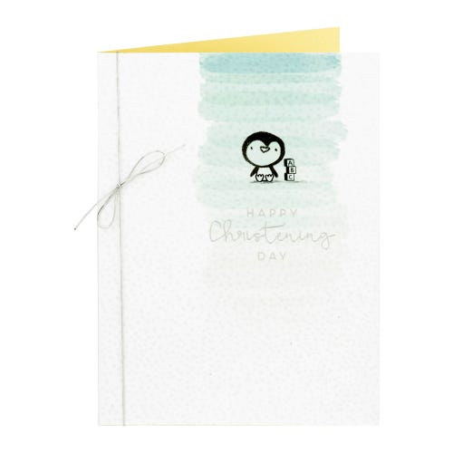 Baby Penguin Christening Card