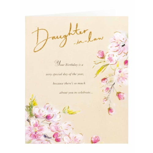Watercolour Flowers Glitter Effect Daughter-In-Law Birthday Card