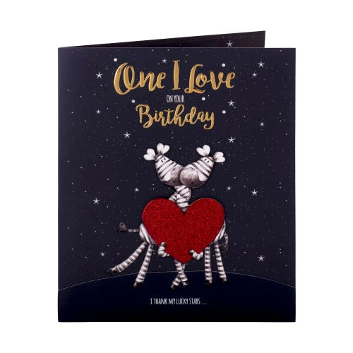 Cute Zebras with Love Heart Birthday Card