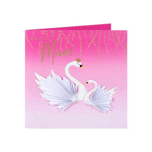 Glitter Swans Pink Mother's Day Card