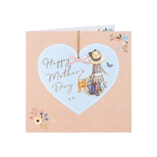 Girl with Cat in Heart Mother's Day Card
