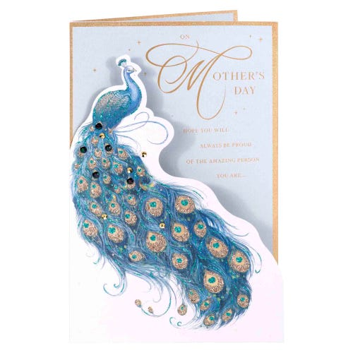 Glitter Peacock Mother's Day Card