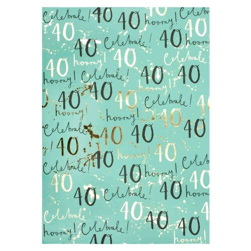 40th Wrap Wrapping Paper Single Sheet