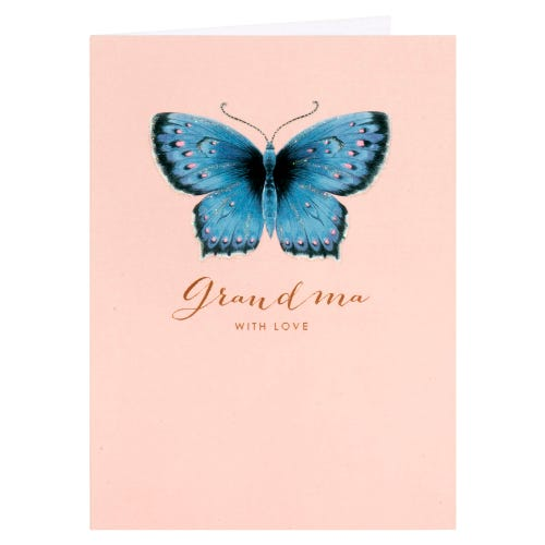 Blue Butterfly Grandma Mother's Day Card