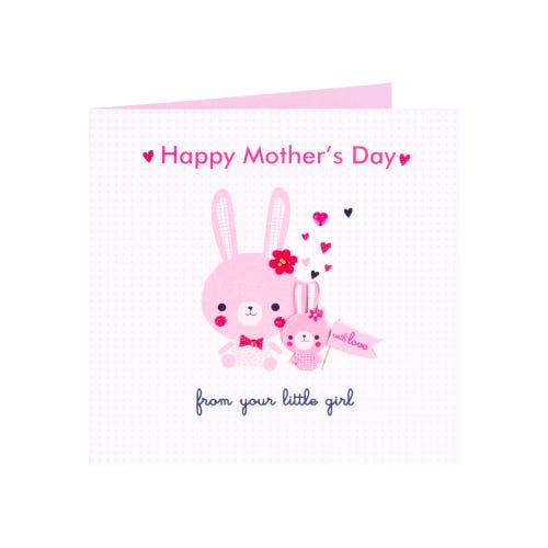 From Your Little Girl Pink Rabbits Mothers Day Card