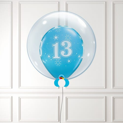 Blue Age 13 Balloon in a Bubble