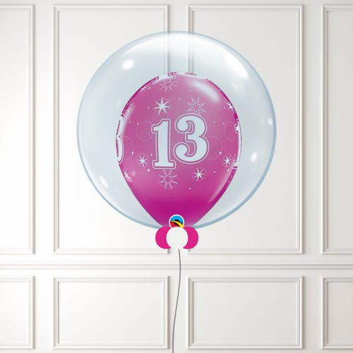 Pink Age 13 Balloon in a Bubble