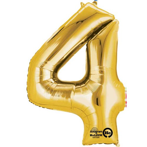 """16"""" Airfilled Number Gold 4 Balloon"""