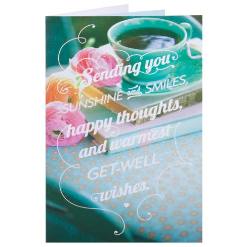 Bright Green Get Well Card With Flowers