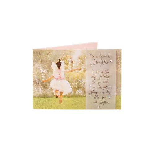 Daughter Birthday Card Girl Wearing Fairy Wings
