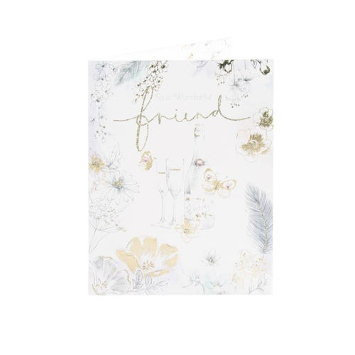 Clintons Collection Champagne & Flowers Friend Birthday Card