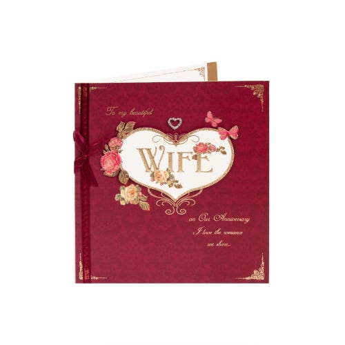 Clintons Collection Wife Anniversary Card Large Glitter Heart