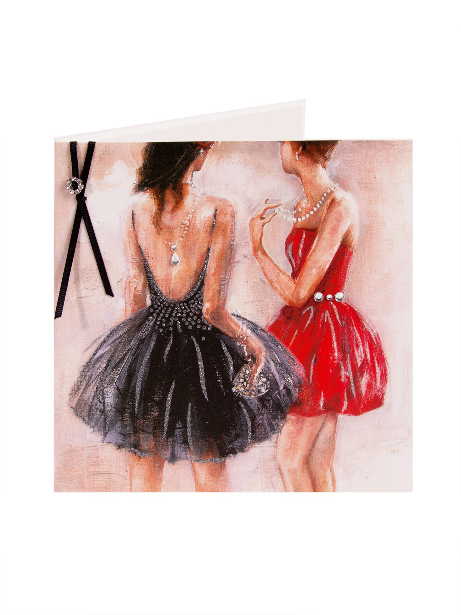 Painting Of Ladies In Dresses Birthday Card <p>Send birthday wishes with this modern art design. Card featuring two female dress in party dresses with embellished gems and glitter detail.</p>