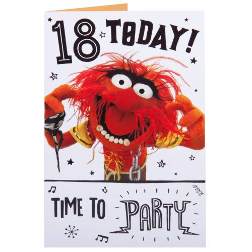 Muppet Character Animal 18th Happy Birthday Card